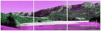 Purple Winter Triptych Art Print by Barbara Griffin