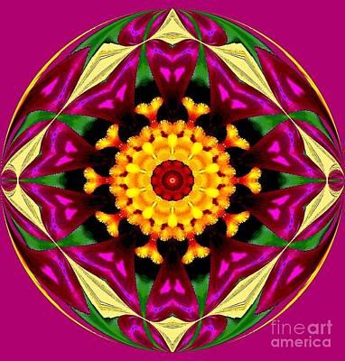 Purple Yellow Flower Orb Art Print by Annette Allman