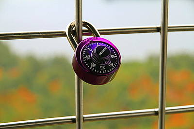 Photograph - Purplish Padlock by Valentino Visentini