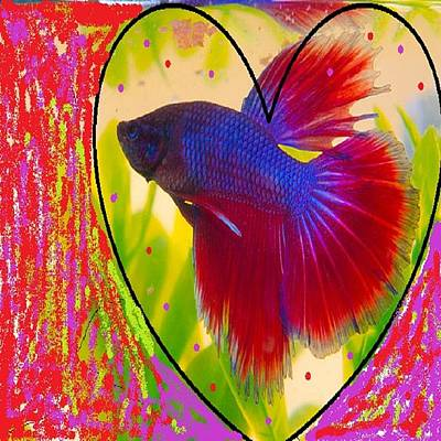 Purpred Fish Art Print