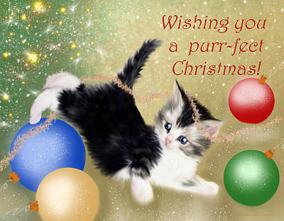 Purr-fect Christmas Greetings  Art Print