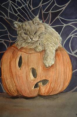 Painting - Purrfect Halloween by Charme Curtin