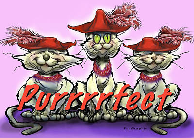 Red Hat Society Digital Art - Purrrrfect by Kevin Middleton