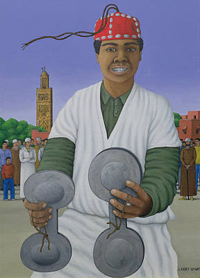 Fez Photograph - Pursued By Gnawa, 1990 Acrylic On Linen by Larry Smart