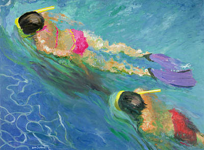 Snorkelling Photograph - Pursuit, 2005 Oil On Board by William Ireland