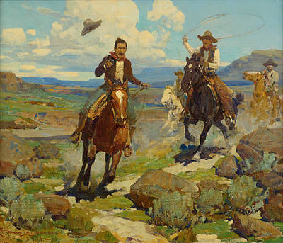 Thief Painting - Pursuit Of A Cattle Thief by Frank Tenney Johnson