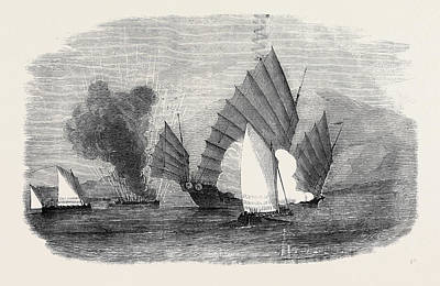 Thoroughbred Drawing - Pursuit Of A Chinese Pirate By The Boats Of H by English School