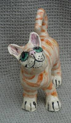 Customcrittersbydeb Sculpture - Puss No Boots by Debbie Limoli