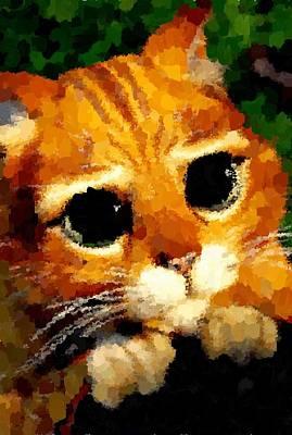 Painting - Puss by Samuel Majcen