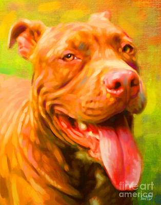 Pit Bull Portrait Art Print by Iain McDonald
