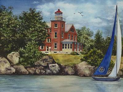Lighthouse And Sailboat Painting - Put-in-bay Lighthouse by Terri  Meyer