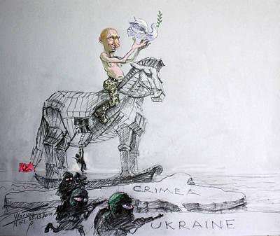 Dove Mixed Media - Putin's Surprising Crimea Visit by Ylli Haruni