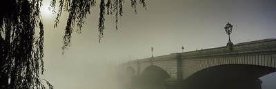 Putney Bridge During Fog, Thames River Art Print by Panoramic Images
