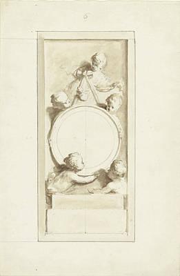 Putti Around A Medallion, Dionys Van Nijmegen Art Print