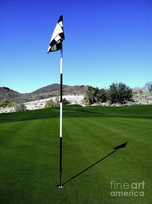 Photograph - Putting Green And Flag On Golf Course by Bryan Mullennix