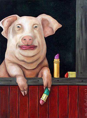 Swine Painting - Putting Lipstick On A Pig by Leah Saulnier The Painting Maniac