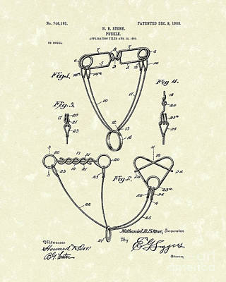 Drawing - Puzzle 1903 Patent Art  by Prior Art Design