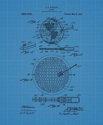 Puzzle Blueprint Patent Art Print by Dan Sproul