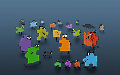 Umbrellas Digital Art - Puzzle Family by Gianfranco Weiss