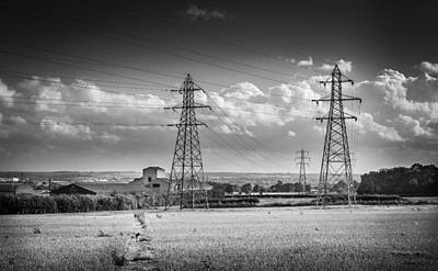 Photograph - Pylons And Fields. by Gary Gillette