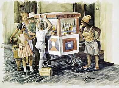 Borinquen Painting - Pyragua Vendor by German Hevia