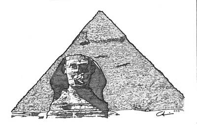 Drawing - Pyramid And Sphinx by Calvin Durham