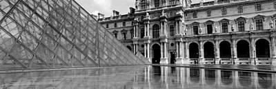 Pyramid In Front Of An Art Museum Art Print by Panoramic Images