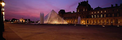 Pyramid Lit Up At Night, Louvre Art Print by Panoramic Images