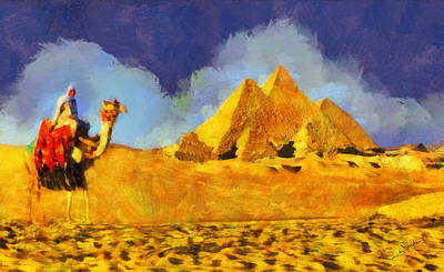 Sahara Painting - Pyramids And Camel by George Rossidis