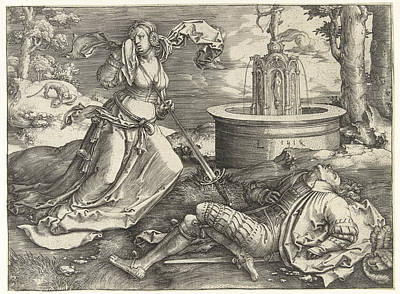 Ill-fated Drawing - Pyramus And Thisbe by Lucas van Leyden