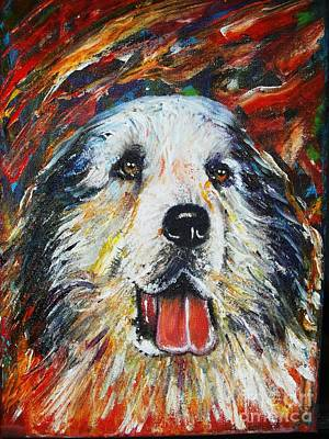 Painting - Pyrenean Mountain Dog by Anastasis  Anastasi