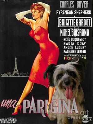 Painting - Pyrenean Shepherd Art Canvas Print - Una Parigina Movie Poster by Sandra Sij