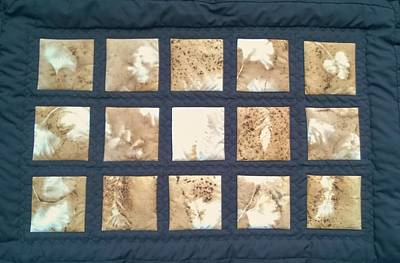 Mixed Media - Pyrographics Images Quilt by Jan Reich