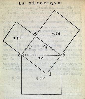 Pythagorean Wall Art - Photograph - Pythagorean Theorem, 16th Century by Middle Temple Library