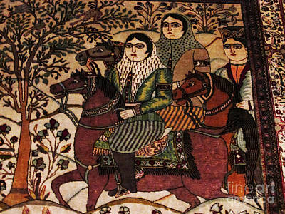 Persian Carpet Photograph - Qajar Woman On Horse Photos Of Persian Antique Rugs Kilims Carpets  by Persian Art