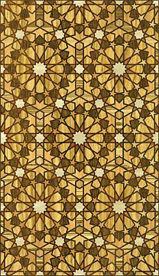 Marquetry Digital Art - Qarawiyyin Mosque Geometric Pattern 1 Wood by Hakon Soreide