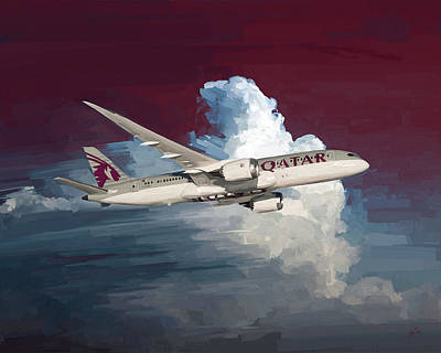 Painting - Qatar 787 Dreamliner by Nop Briex