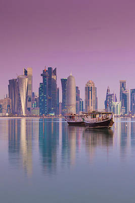 Dhow Photograph - Qatar, Doha, Dhows On Doha Bay by Walter Bibikow