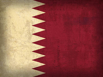 Qatar Mixed Media - Qatar Flag Vintage Distressed Finish by Design Turnpike