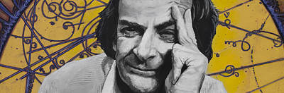Cosmos Painting - Qed- Richard Phillips Feynman by Simon Kregar