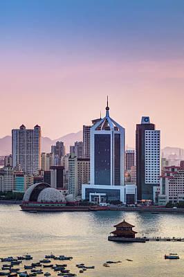 Qingdao Bay Sunset Scene Art Print by Miragec