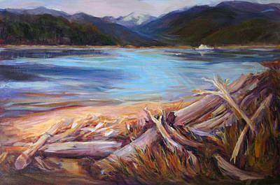 Painting - Quadra Driftwood-rebecca Spit by Nanci Cook