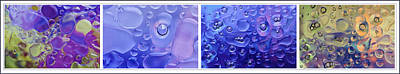 Art Print featuring the photograph Quadryptich Of Colorful Water Bubbles by Peter v Quenter