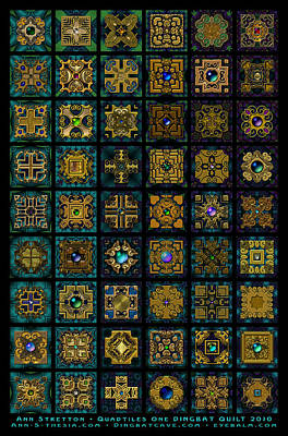 Millefiori Digital Art - Quadtiles One Dingbat Quilt by Ann Stretton
