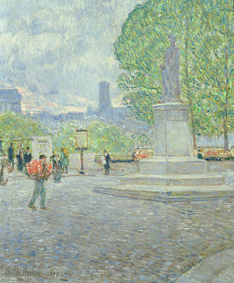 European Street Scene Painting - Quai Malaquais, 1897 by Childe Hassam