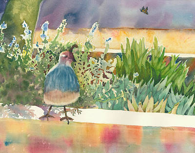Featured Images Painting - Quail And Butterfly by Melanie Harman