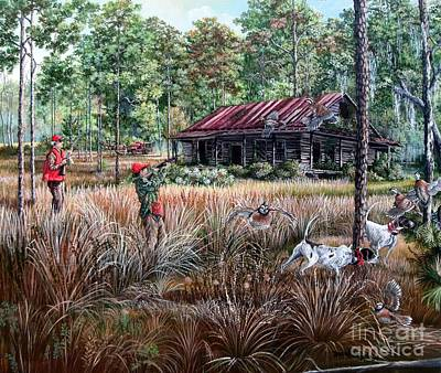 Old Barn Painting - Quail Hunting- On Familiar Ground by Daniel Butler
