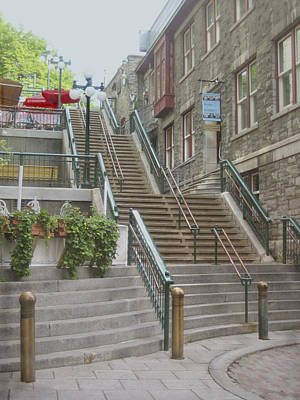 Photograph - quaint  street scene  photograph THE BREAKNECK STAIRS of QUEBEC CITY   by Ann Powell
