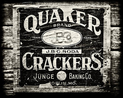 Quaker Crackers Rustic Sign For Kitchen In Black And White Art Print by Lisa Russo