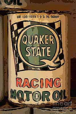 Quaker State Oil Can Art Print by Carrie Cranwill